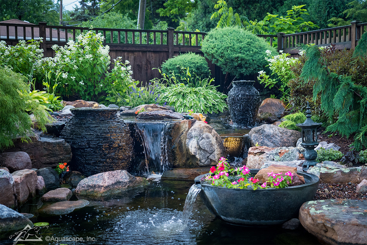 Eco pond with natural waterfall